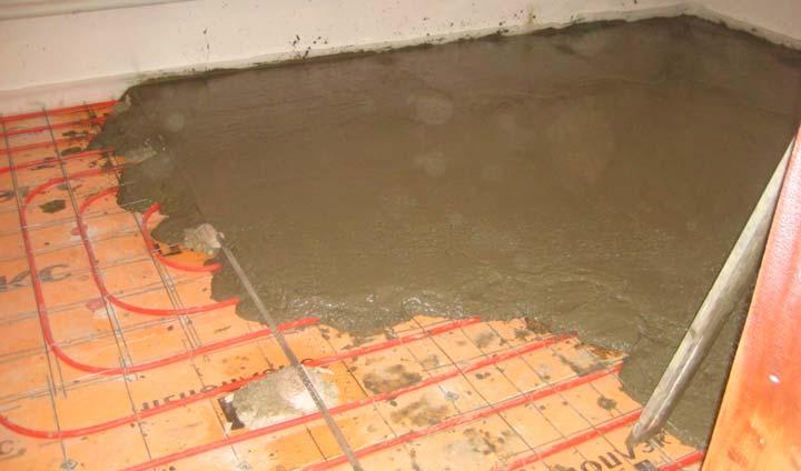 Заливка стяжки на водный теплый пол