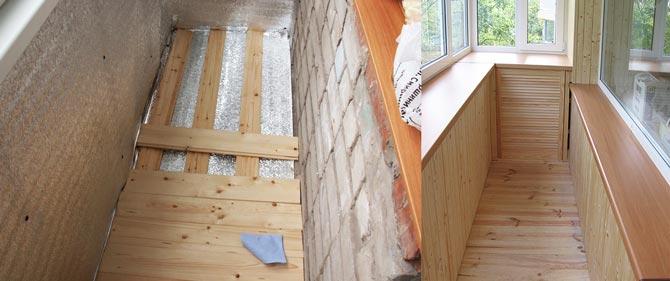 Деревянные полы на балконе