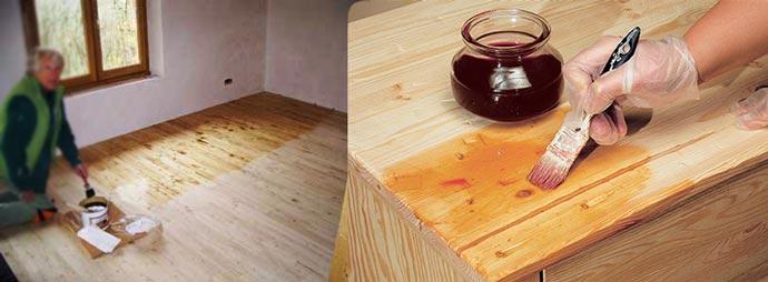Обработка деревянного пола маслом