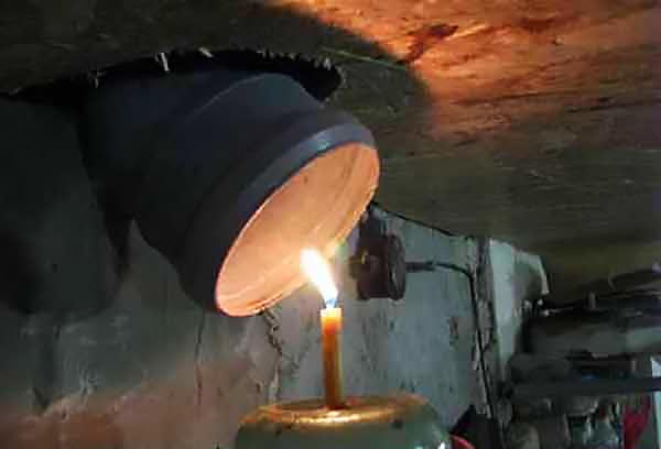 Огонёк в подвале для прооверки вентиляции