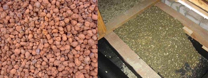 Керамзит и смесь опилок с цементом