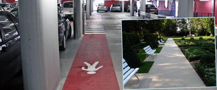 Парковка и аллея с акрил-цементным покрытием