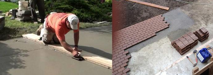 Укладка бетона и плитки на бетон