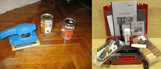 Наборы инструмента и материалов для ремонта паркета