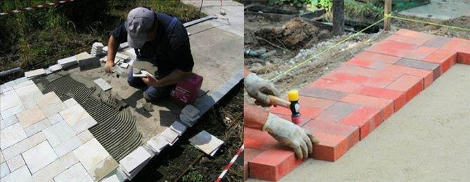 Монтаж дорожек плиткой на бетон