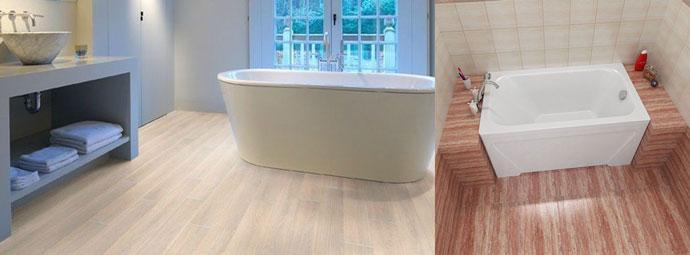 Напольный линолеум в ванной