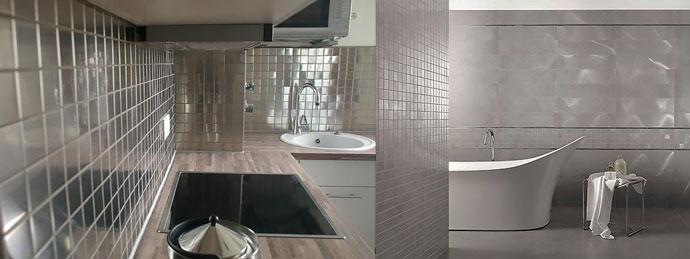 Металлическая плитка в ванной и на кухне