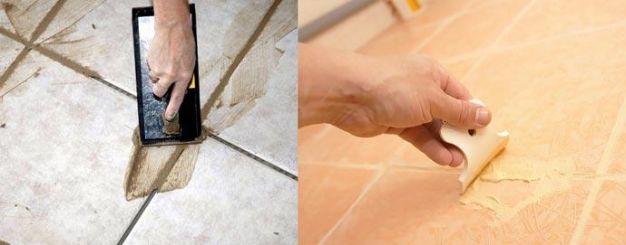 Варианты затирки швов плитки на полу