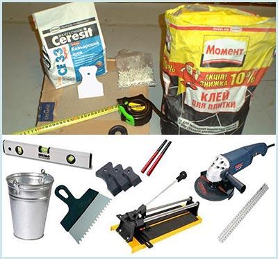 Инструменты и растворы для монтажа плитки