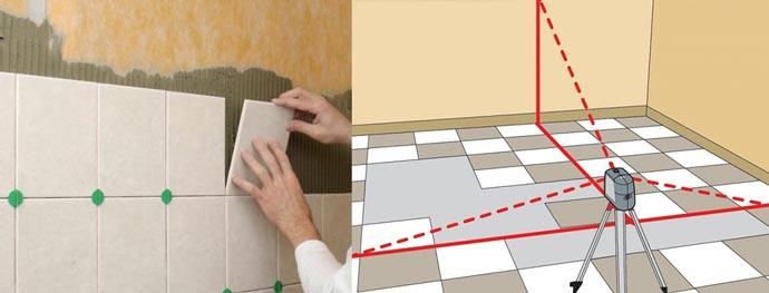 Маяки, разметка и укладка плитки