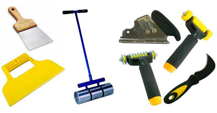 Инструменты, которые понадобятся при укладке пробкового покрытия