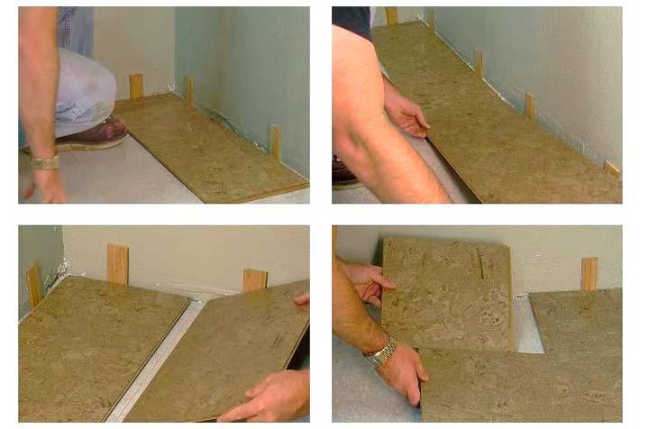 Укладка пробкового покрытия с замковым соединением