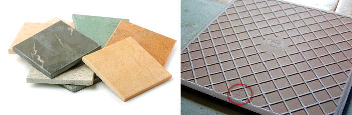 Керамическая плитка и маркировка на обратной стороне
