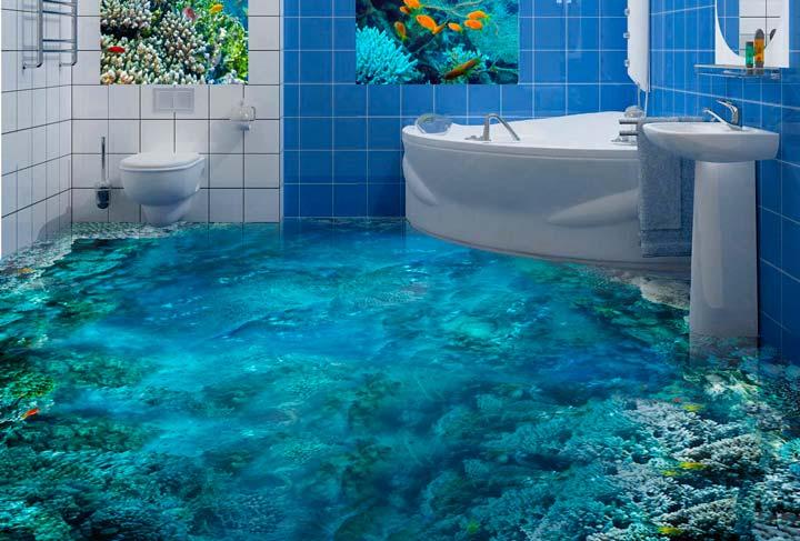 Красивые наливные полы в ванной комнате