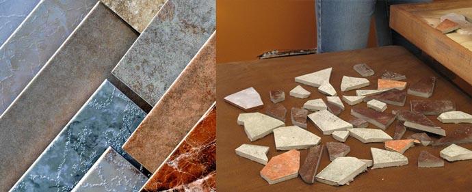 Керамическая плитка и осколки