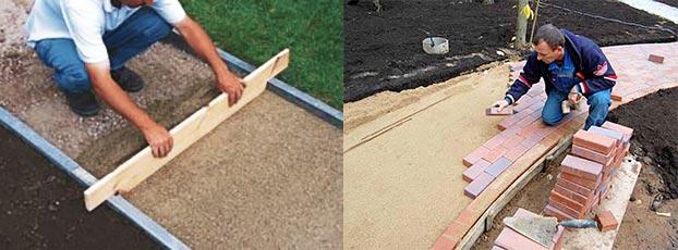 Подготовка и укладка полимерпесчаной тротуарной плитки