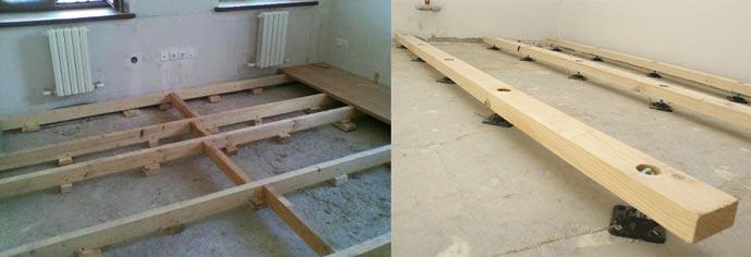 Монтаж лаг на бетон