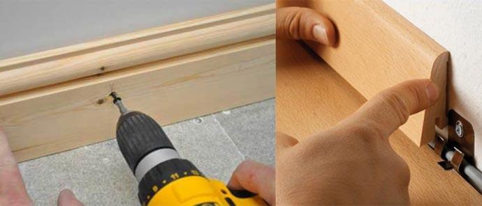 Крепление деревянного плинтуса клипсой или шурупом