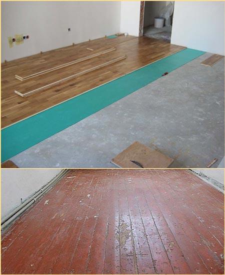 монтаж ламината на бетонный пол и деревянный