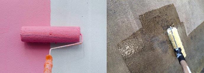 Грунтовка и покраска бетонной стены