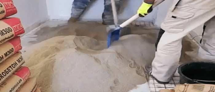 Приготовленеи смеси полусухой стяжки