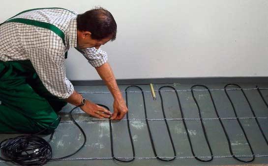 Укладка кабеля теплого пола