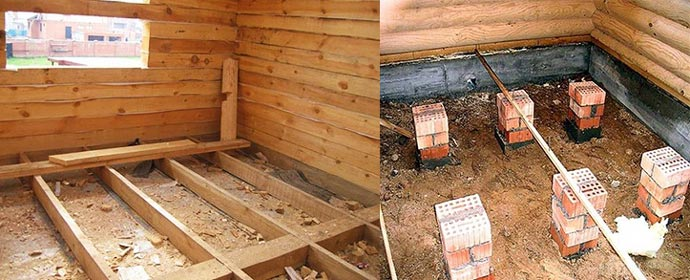 Виды лаг для деревянного пола - доски и столбики