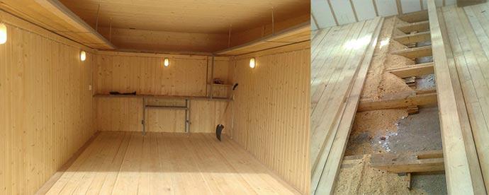 Деревянные полы в деревянном гараже