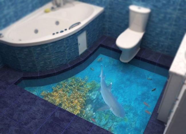 Фрагмент 3д пола в ванной