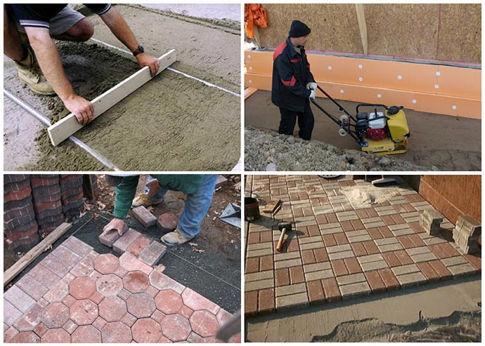 Схема монтажа тротуарной плитки на бетон отмостки