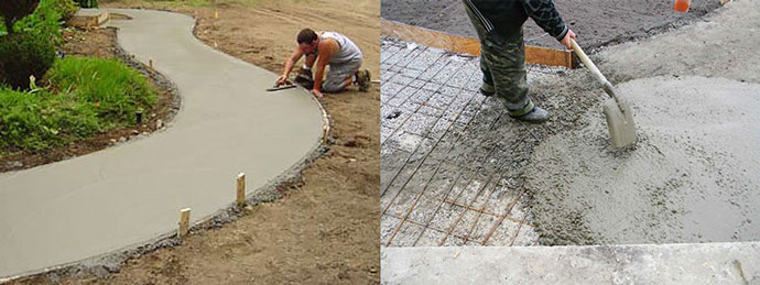 Укладка бетонных дорожек