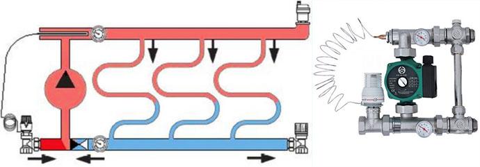Смеситеьльный узел схема и устройство