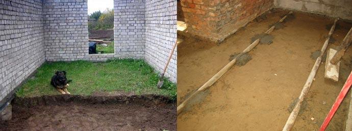 Снятие почвы и насыпь песка
