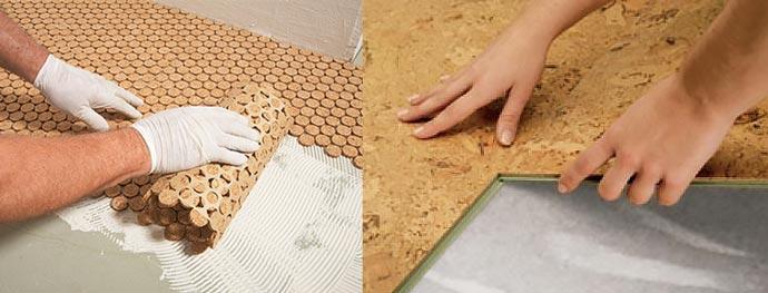 Укладка пробки на пол на клей или замковым методом