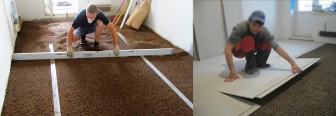 Выравнивание сухой смеси на полу