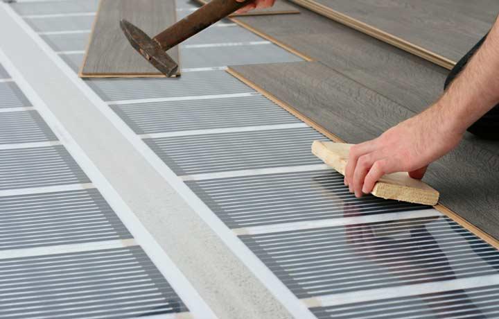 Укладка финишного покрытия проводиться поверх теплого пола