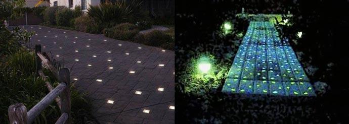 Дворовые дорожки со светящейся плиткой