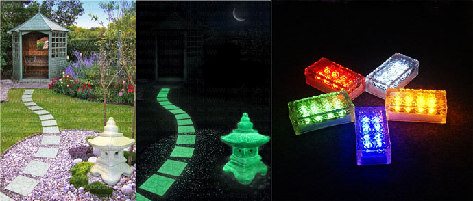 Светящаяся плитка на садовых дорожках