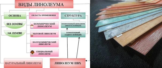 Виды линолеума - схема и образцы