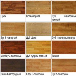 Виды древесины для доски паркетной